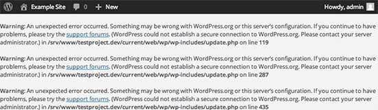 Error de conexión segura en WordPress
