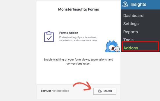 Instalar complemento de formularios para MonsterInsights