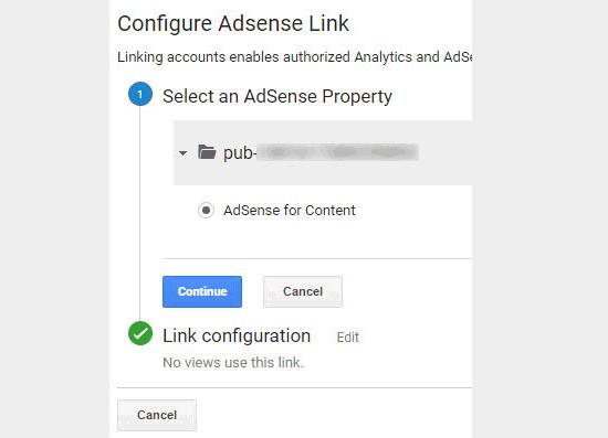 Seleccionar y vincular la propiedad de AdSense